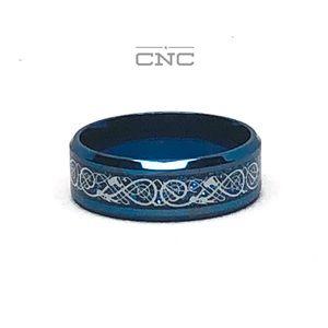 Other - Men's Blue Tribal Celtic Titanium Wedding 8MM Ring
